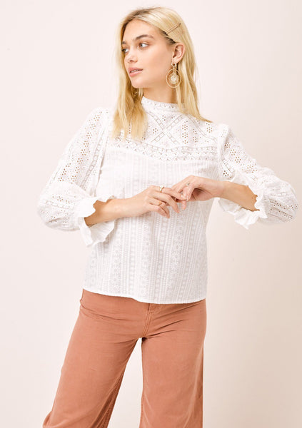 Ronja Eyelet Mock Neck Top