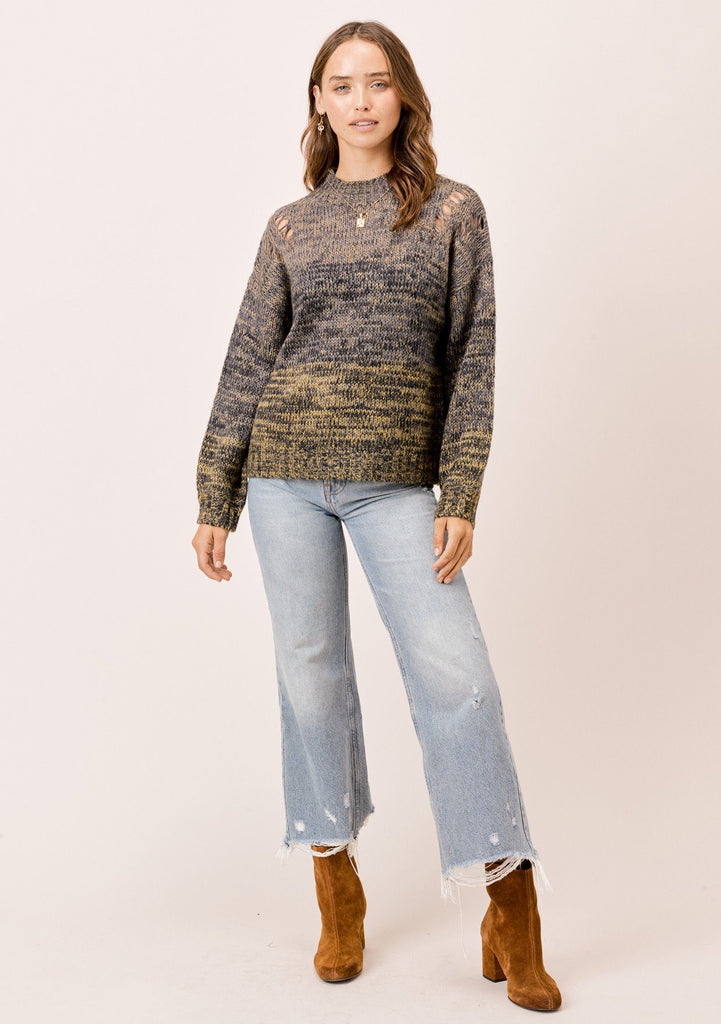 [Color: Olive Multi] Lovestitch olive mock neck space dye sweater with distressed detail on shoulder