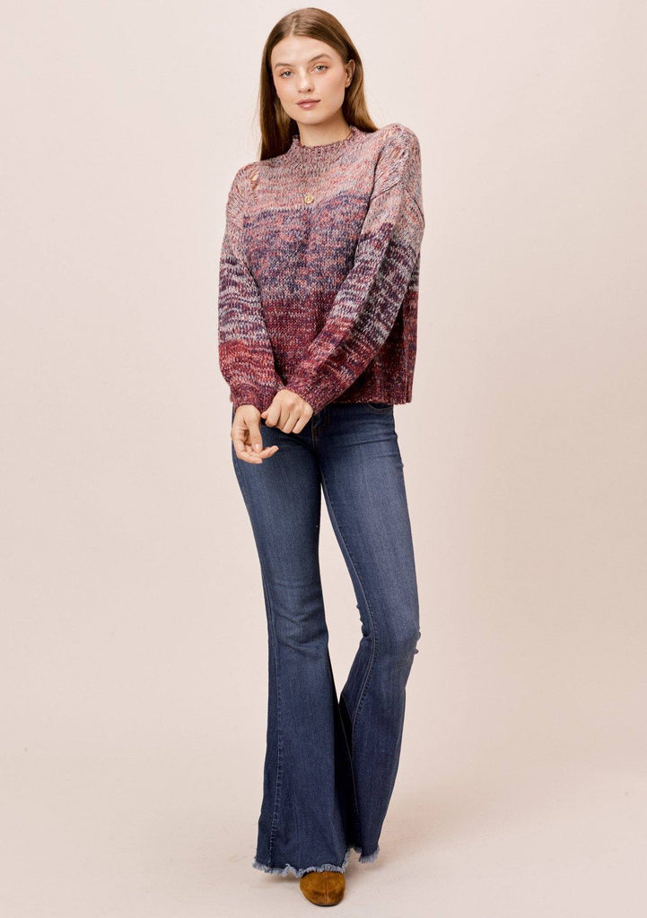[Color: Cranberry Multi] Lovestitch cranberry mock neck space dye sweater with distressed detail on shoulder