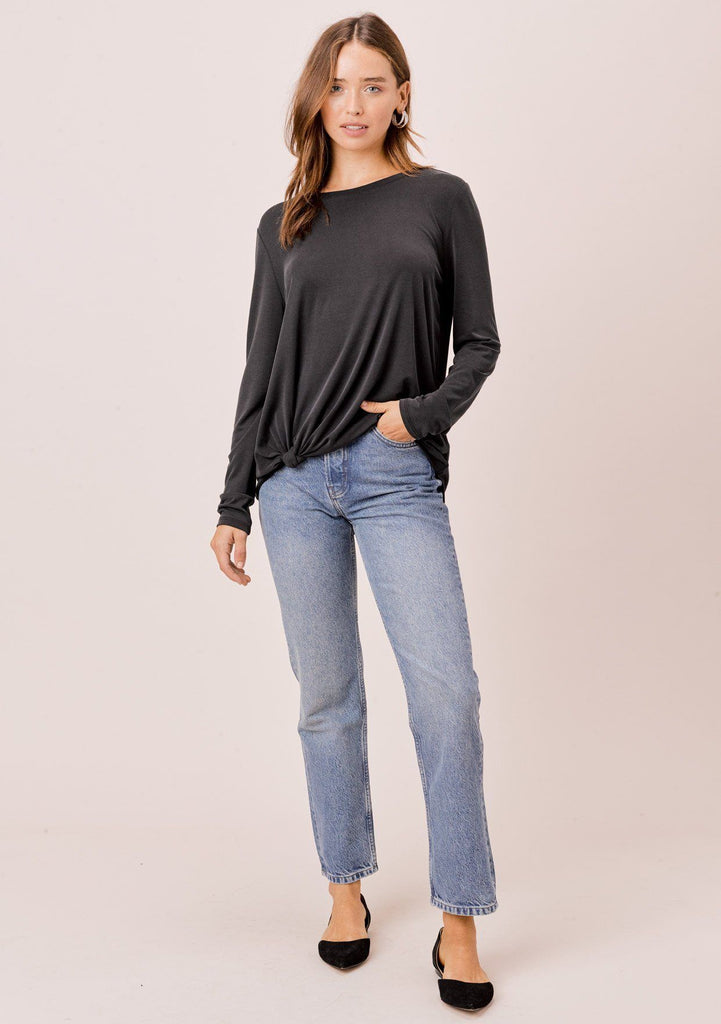 [Color: Black] Lovestitch, long sleeve, super soft, modal blend top with side knot detail.