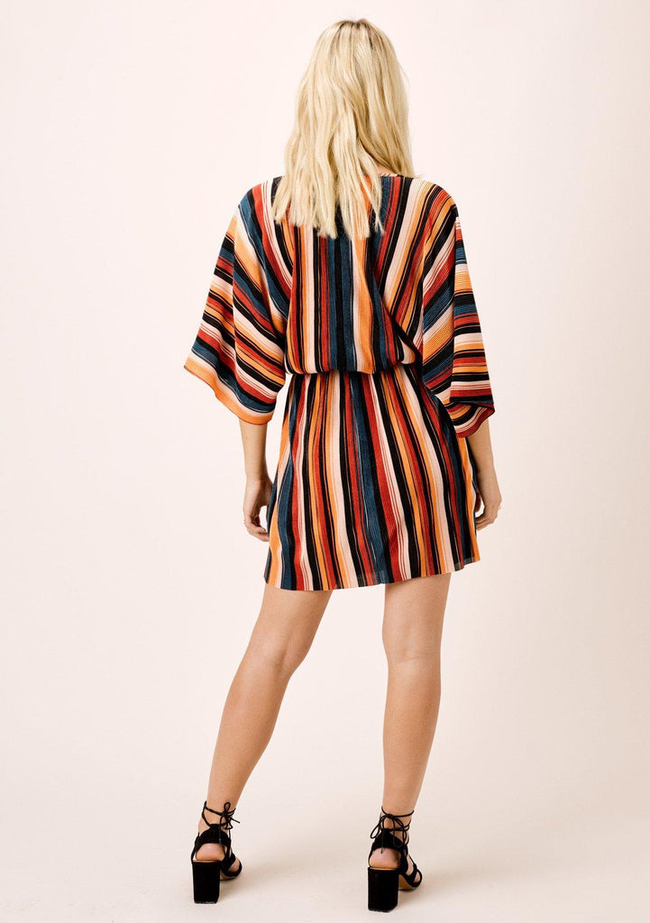 [Color: Black/Spice/Teal] Lovestitch Multi Color Striped Pleated Retro style kimono sleeve mini dress