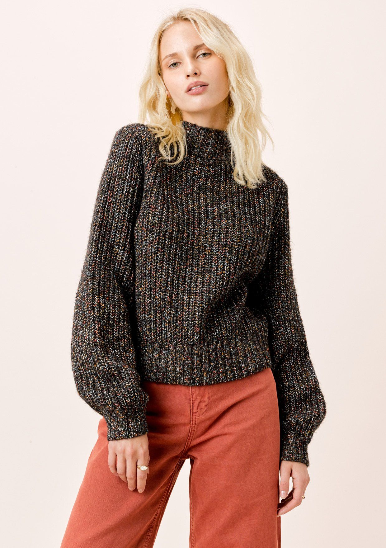 [Color: Black Multi] Lovestitch multicolor black sweater with volume sleeves.