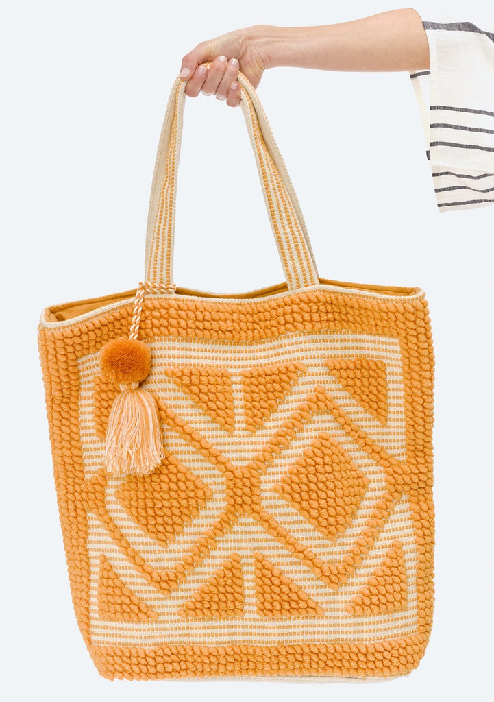 [Color: Mustard/Natural] Lovestitch oversized, double diamond patterned, carpet beach tote