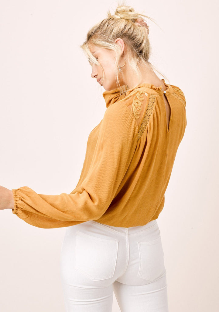 [Color: Mustard] Lovestitch mustard, long sleeve, pintuck front top with ruffled neck and lace trim.