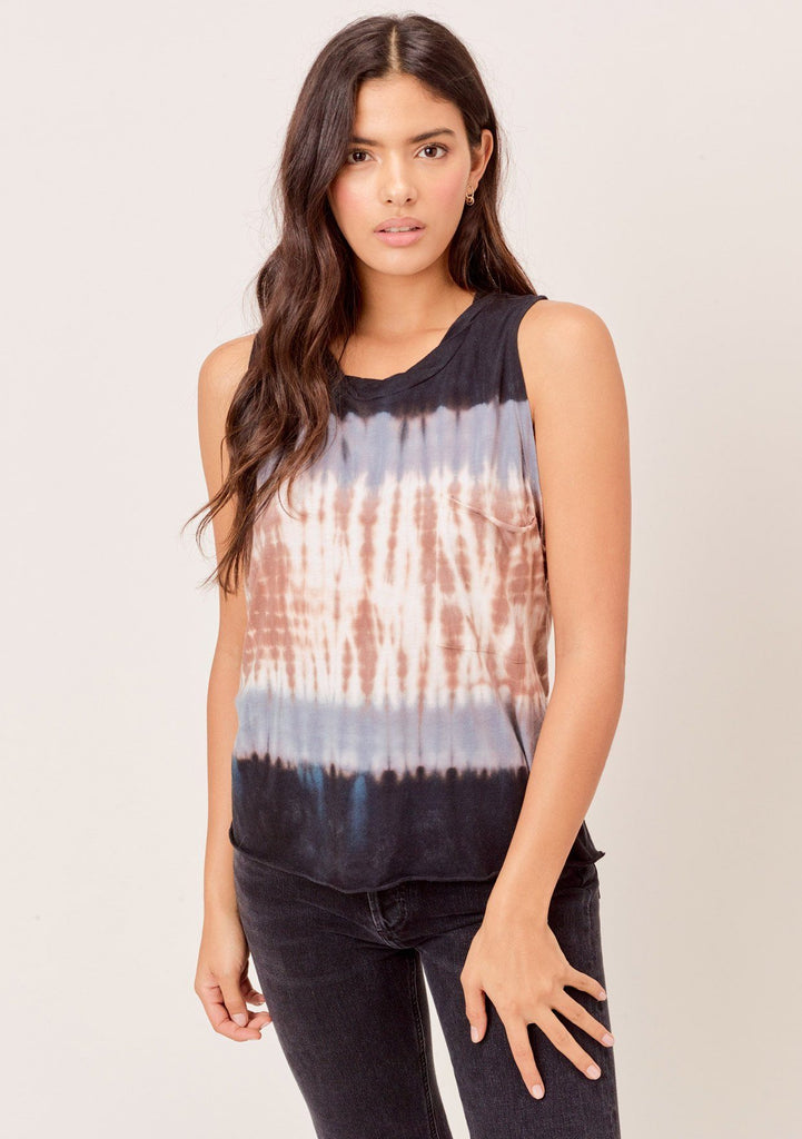 [Color: Navy/Brown/Beige] Lovestitch navy/brown/beige super soft, color block tie-dye muscle tee with twisted crew neck.