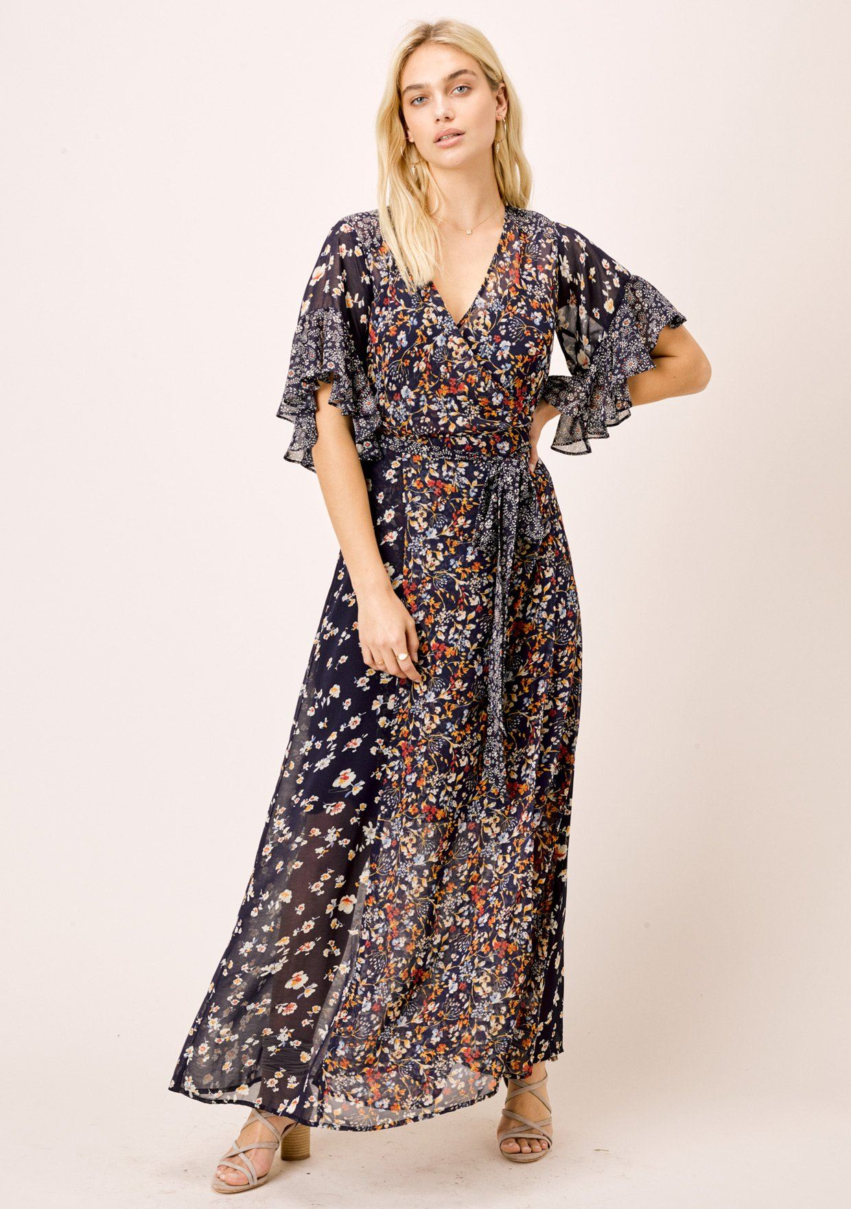 [Color: Midnight/Multi] Lovestitch mixed floral print, ruffle sleeve wrap maxi dress