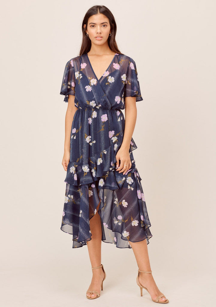 [Color: Navy/Lilac] Lovestitch navy/lilac Floral printed, short sleeve, surplice maxi dress with ruffled details and front slit.