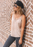 [Color: Nude] Lovestitch Nude Leopard Printed Cami with lace trim