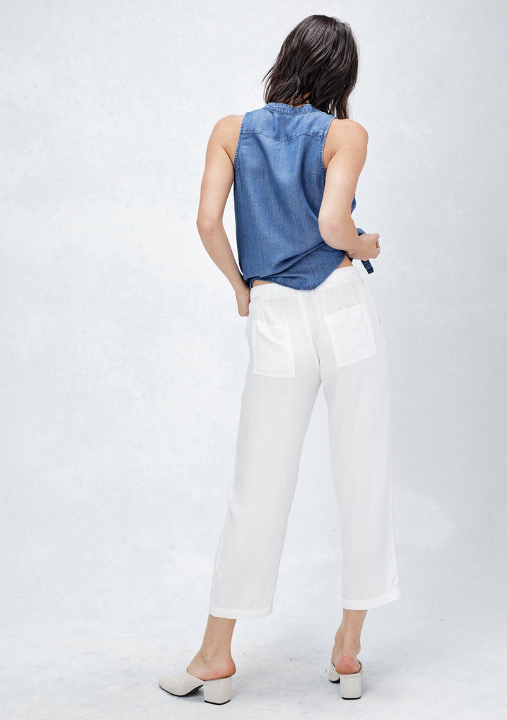 [Color: Off White]  Lovestitch comfy white wide-leg drawstring cropped pants with cargo pockets, back pockets and beaded detail on drawstring
