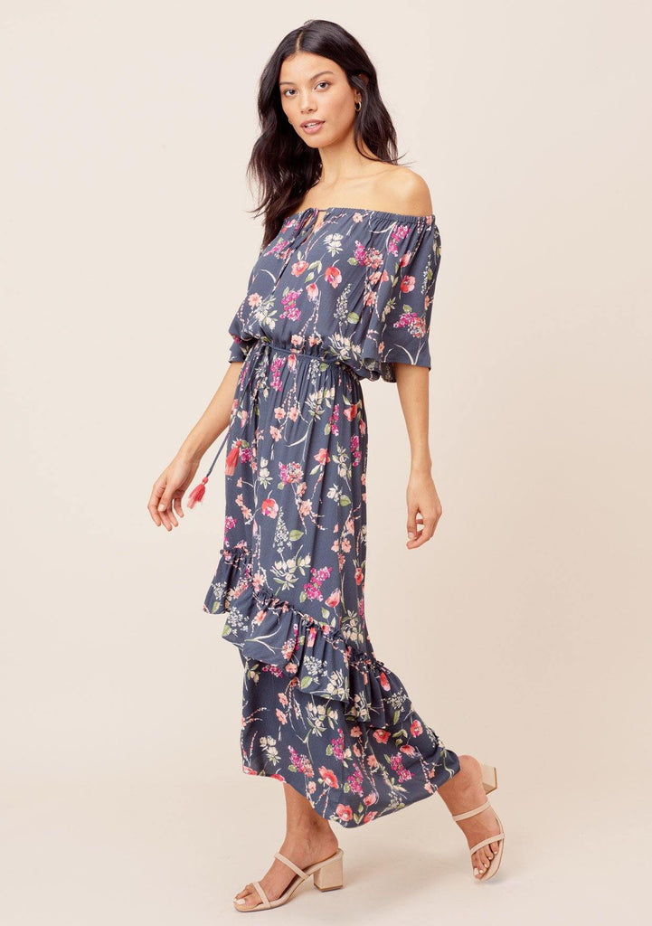 [Color: OffBlack/Poppy] Lovestitch offblack/poppy Floral printed, off-the-shoulder maxi dress with high-low hem and tassel tie belt.