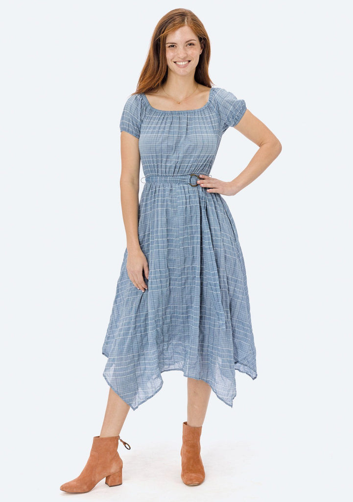 [Color: Chambray/Ivory/Navy] Lovestitch plaid, off-the-shoulder dress with belt and handkerchief hem.