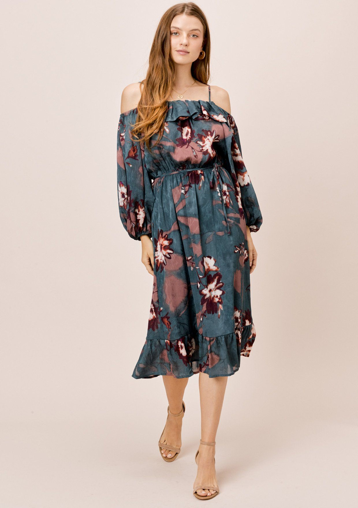 [Color: Dirty Teal] Lovestitch teal floral midi dress with cold shoulder, volume sleeve and flounce