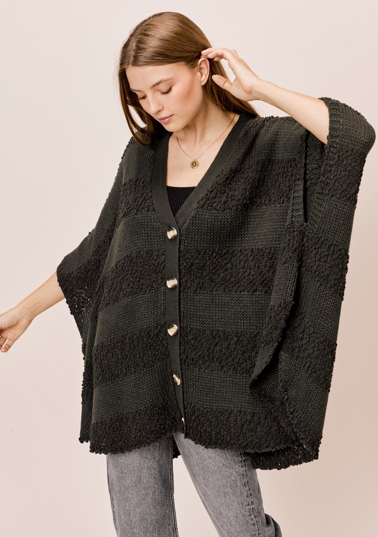 [Color: Olive Green] Lovestitch olive green Oversized, popcorn stripe, button down, poncho style cardigan.