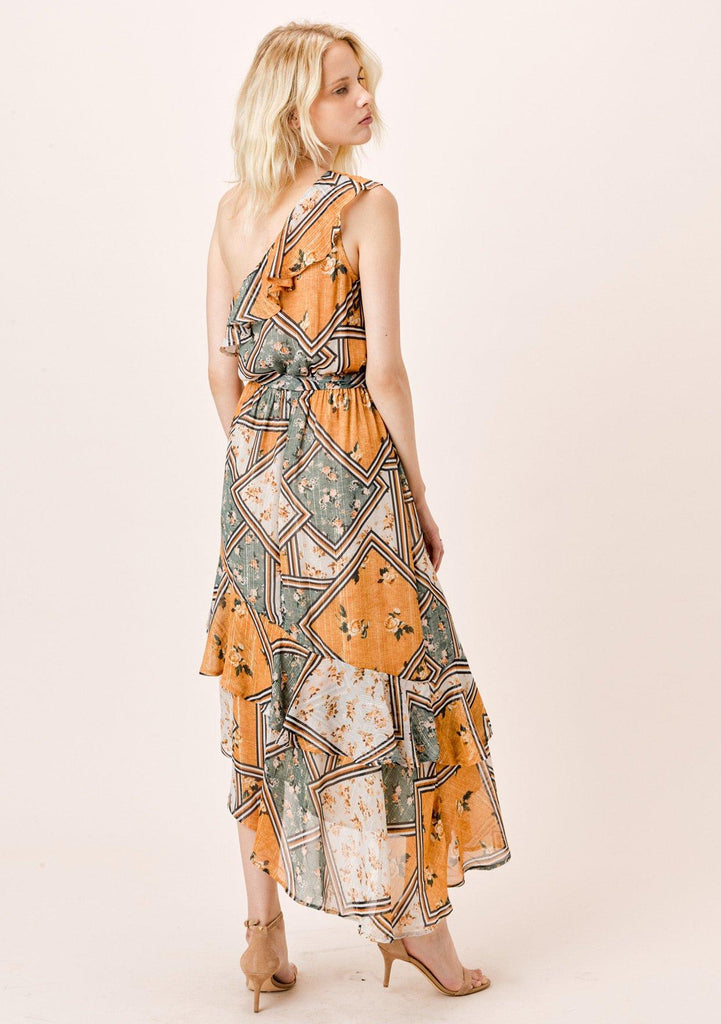 [Color: Retro/Gold] Lovestitch Patchwork Floral printed, one shoulder maxi dress with asymmetrical ruffle hem.