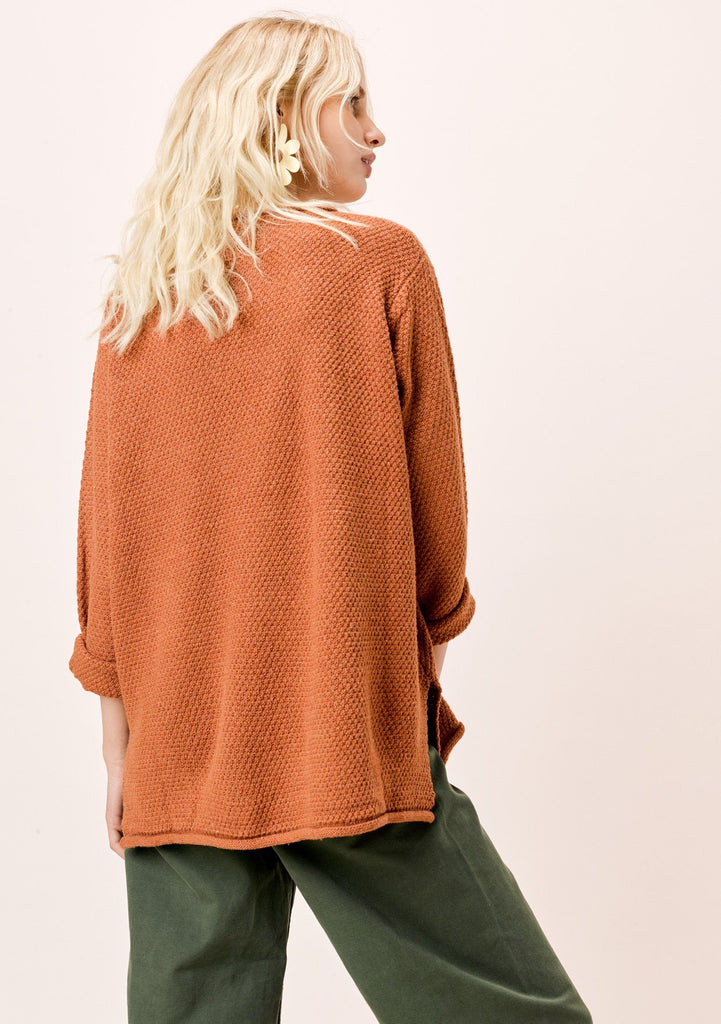 [Color: Toffee] Lovestitch Toffee Rolled Neck Sweater with Side Slits