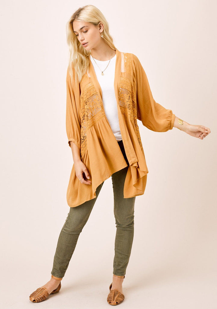 [Color: Mustard] Lovestitch mustard yellow, volume sleeve, woven cardigan with multi lace trim.