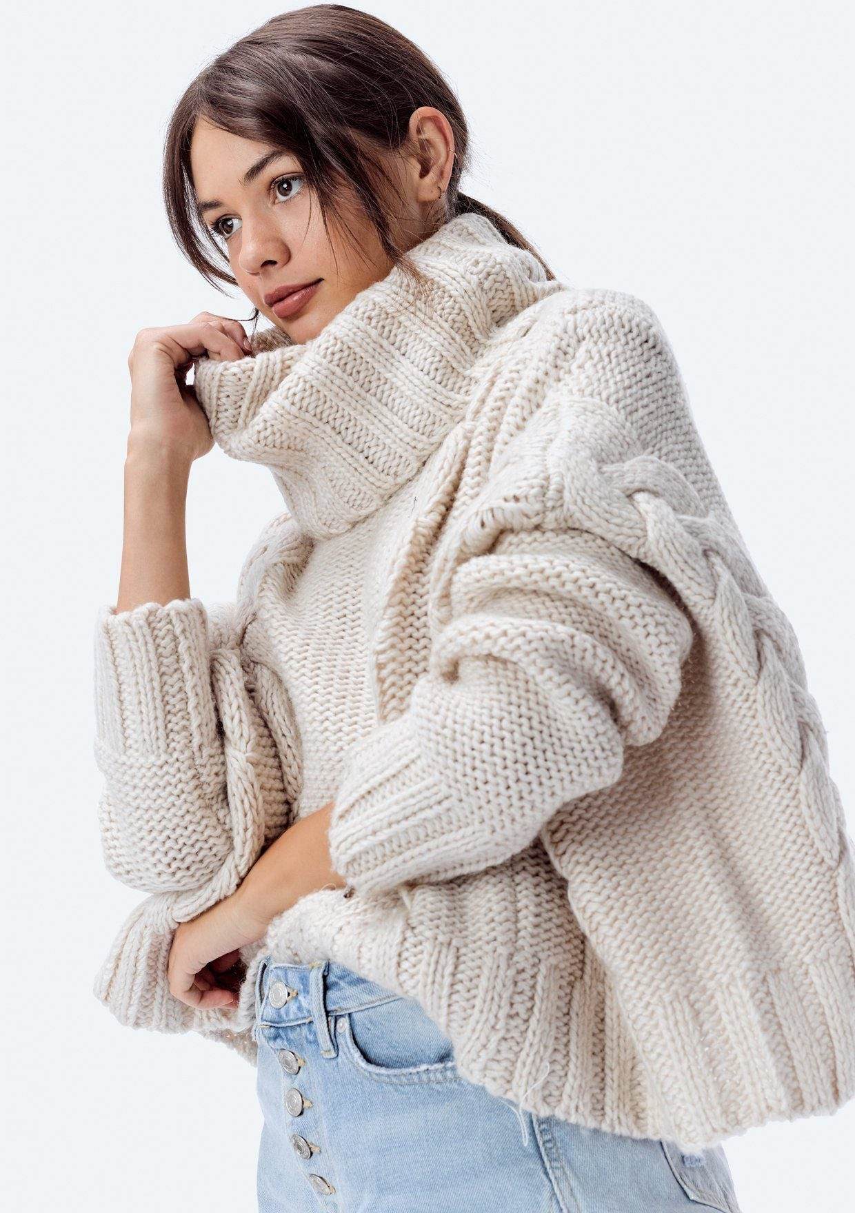 Cable Knit Slouchy Turtleneck Sweater  72c722656