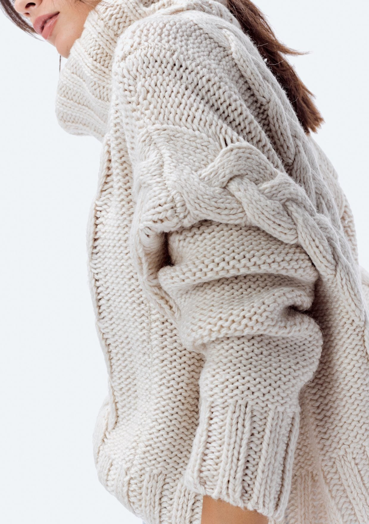 Cable Knit Slouchy Turtleneck Sweater | Lovestitch Sweaters + ...