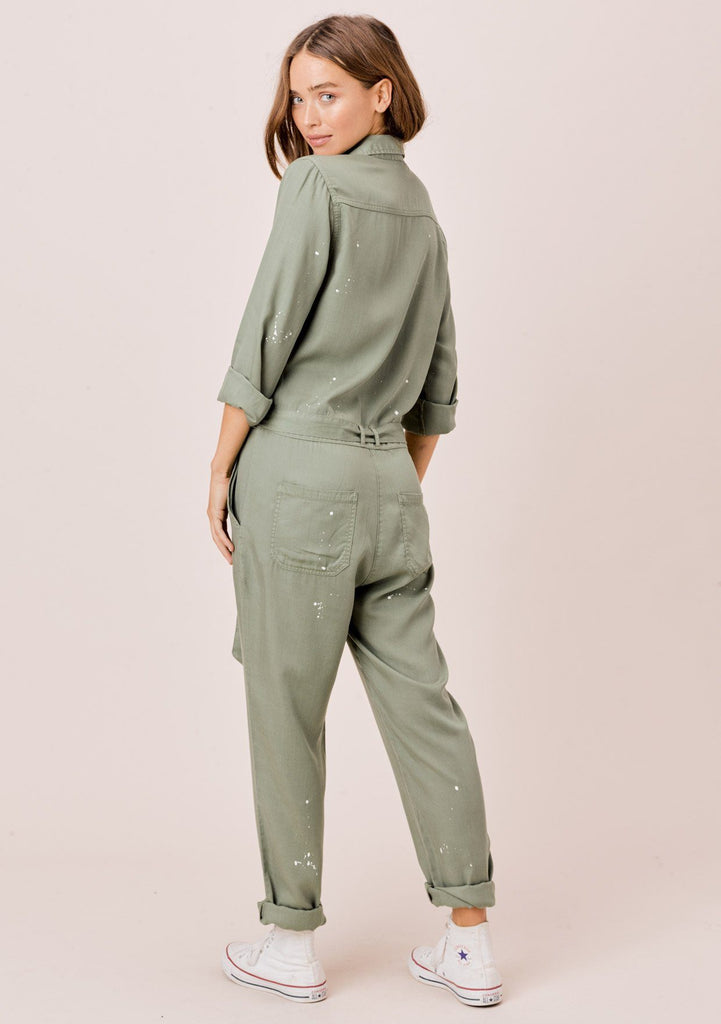 [Color: Olive] Lovestitch olive long sleeve, tencel, belted utility jumpsuit with paint splatter.