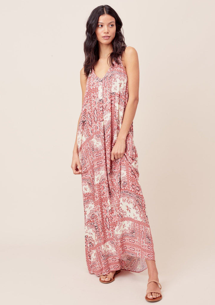 [Color: Brick/Bone] Lovestitch brick/bone Paisley printed, pleated racerback maxi dress with side pockets.