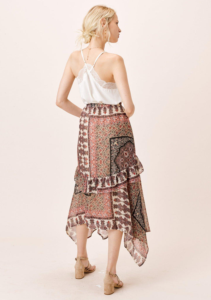 [Color: Midnight/Sand] Lovestitch floral paisley printed, chiffon maxi skirt with ruffle detail.
