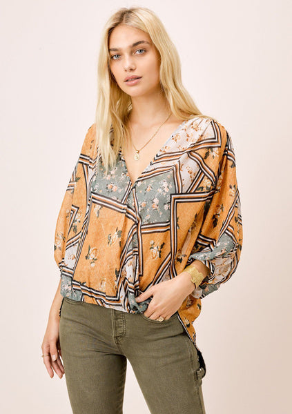 Naz Patchwork Floral Surplice Top