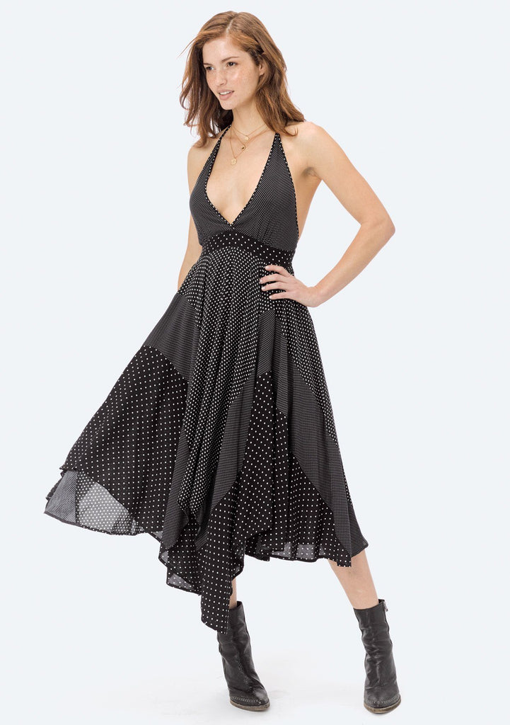 [Color: Black/WhiteDot] Lovestitch polka dot, patchwork halter dress with plunging V-neckline and handkerchief skirt.