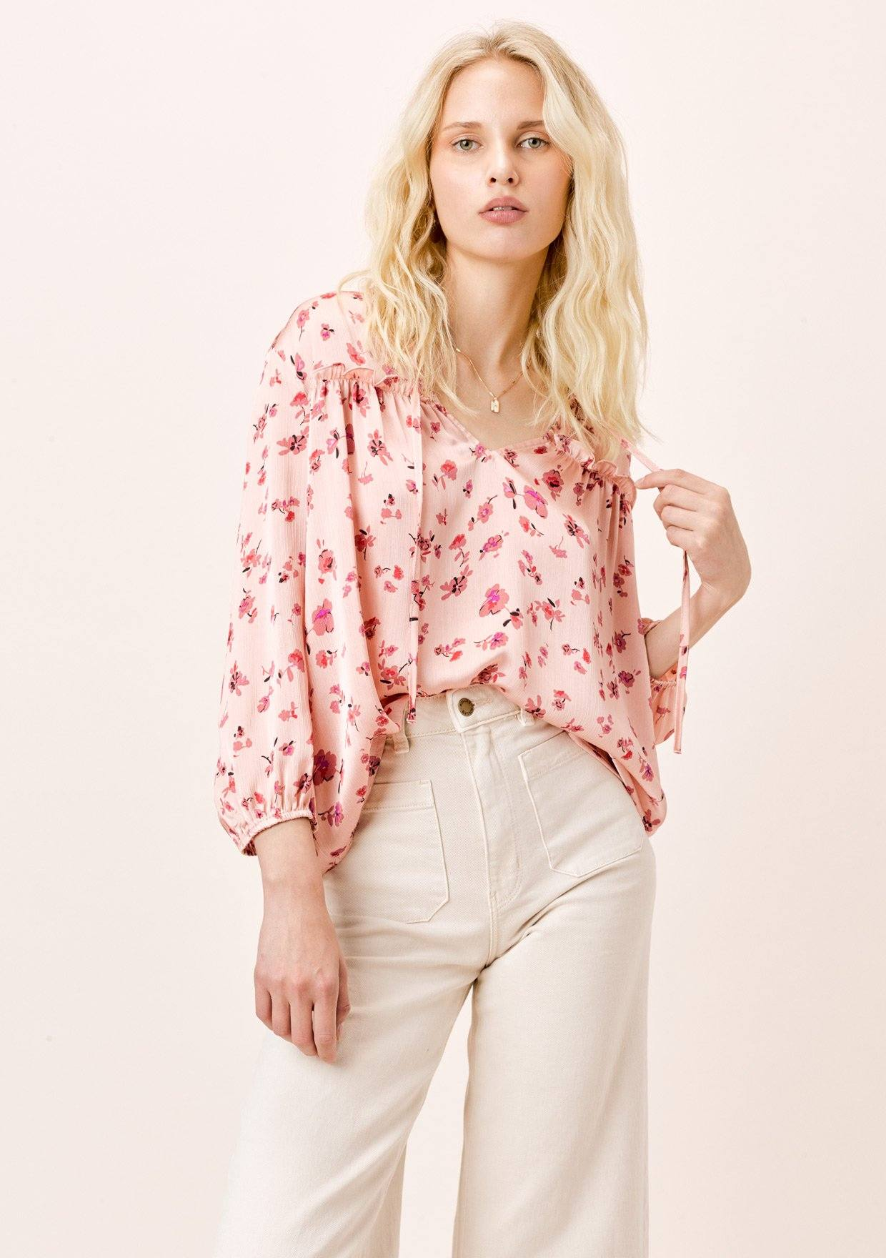 [Color: DesertRose/Mauve] Lovestitch desert rose/mauve, satin floral printed peasant blouse with ruffled details.