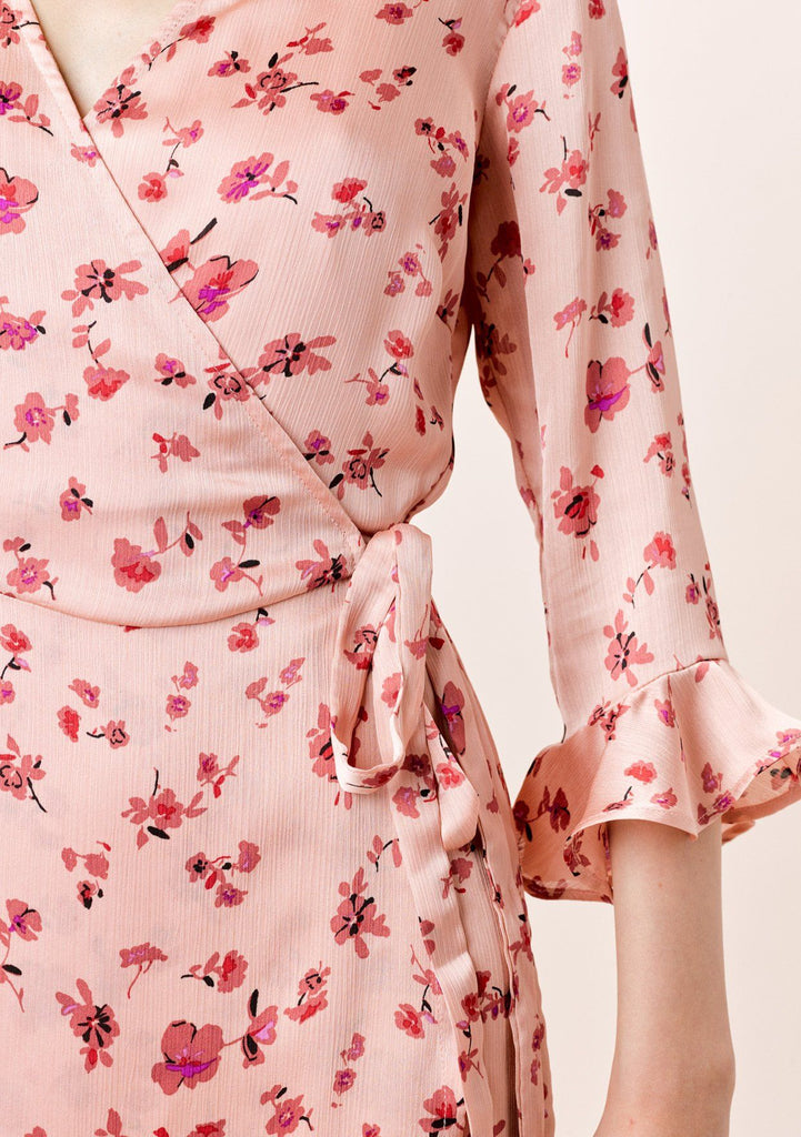 [Color: DesertRose/Mauve] Lovestitch desert rose/mauve, floral printed, mini wrap dress.