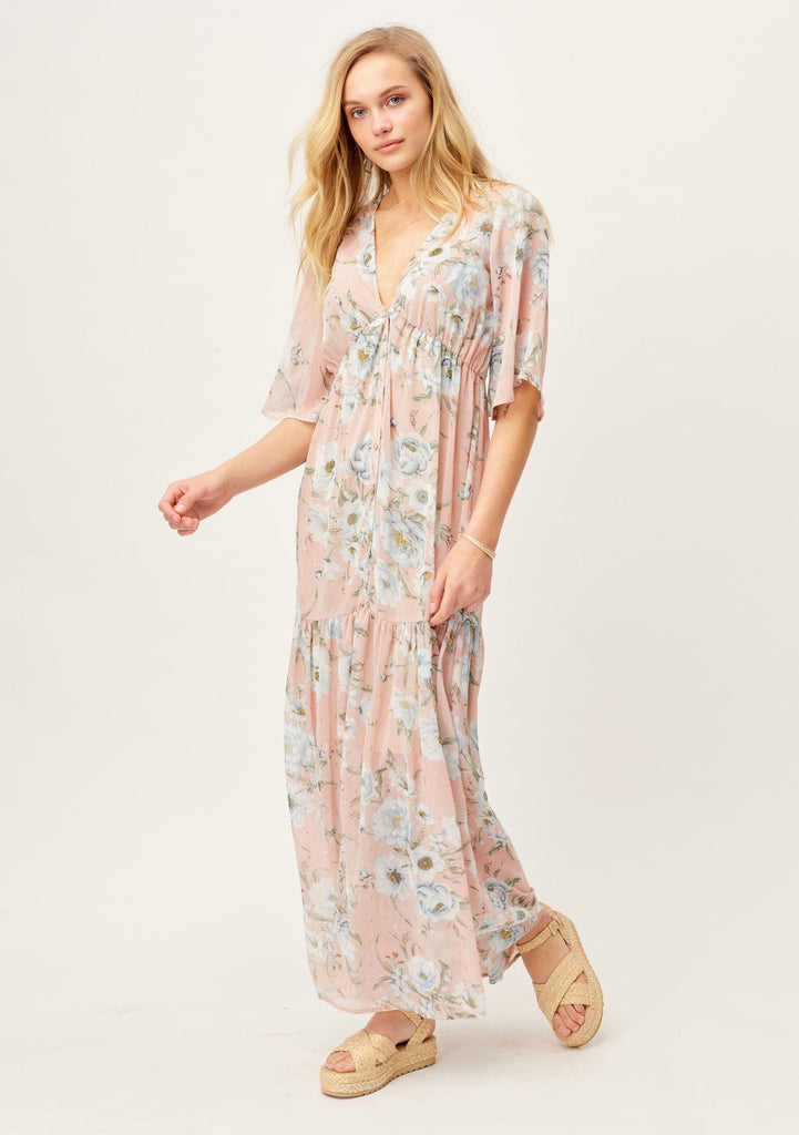 [Color: Blush/Sky] Lovestitch beautiful and elegant pink and white floral maxi dress with a v-neckline, button down front, flattering half sleeves and metallic dotted details throughout. The perfect dress for baby showers, bridal showers, weddings and special occasions.