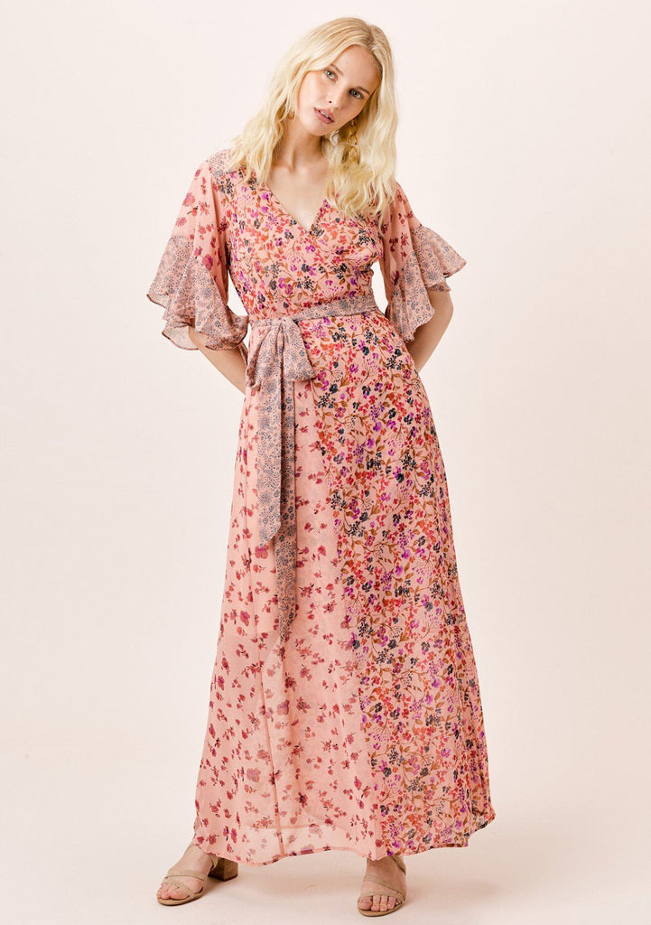 [Color: DesertRose/Multi] Lovestitch pink mixed floral print, ruffle sleeve wrap maxi dress