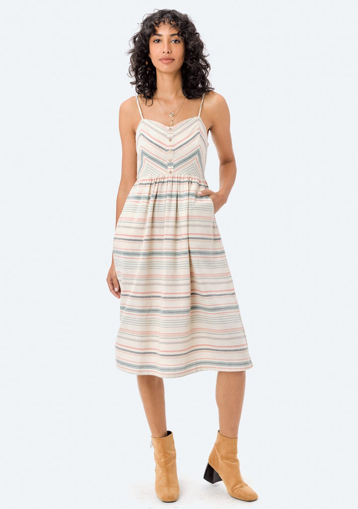 [Color: Natural/Multi] Lovestitch vintage style, striped midi dress with full skirt.