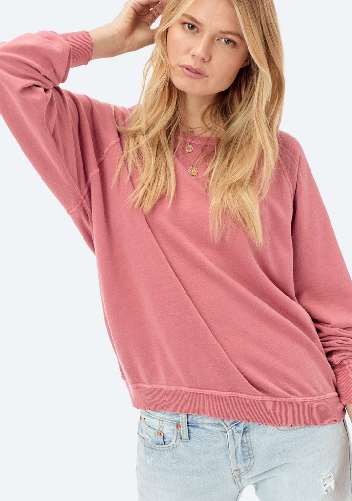 [Color: Rose] Lovestitch lightweight frenchterry crewneck sweater with distressed detail.