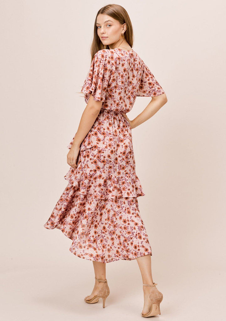 [Color: VintageRose/Auburn] Lovestitch vintagerose/auburn short sleeve surplice maxi dress with ruffle detail and front slit