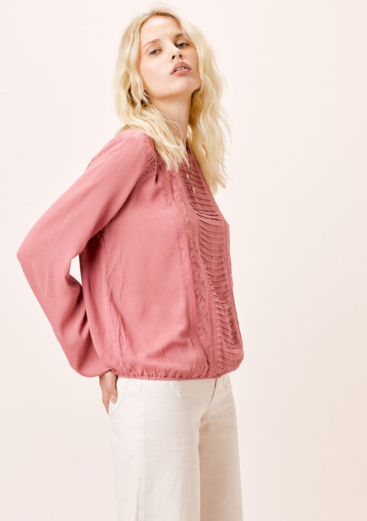 [Color: Rose] Lovestitch rose, long sleeve, pintuck front top with ruffled neck and lace trim.