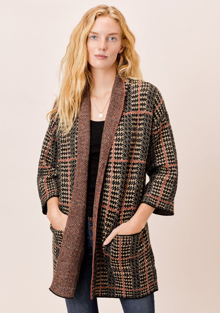 [Color: Black/Tan/Rust] Lovestitch Plaid Coatigan with 3/4 length sleeves
