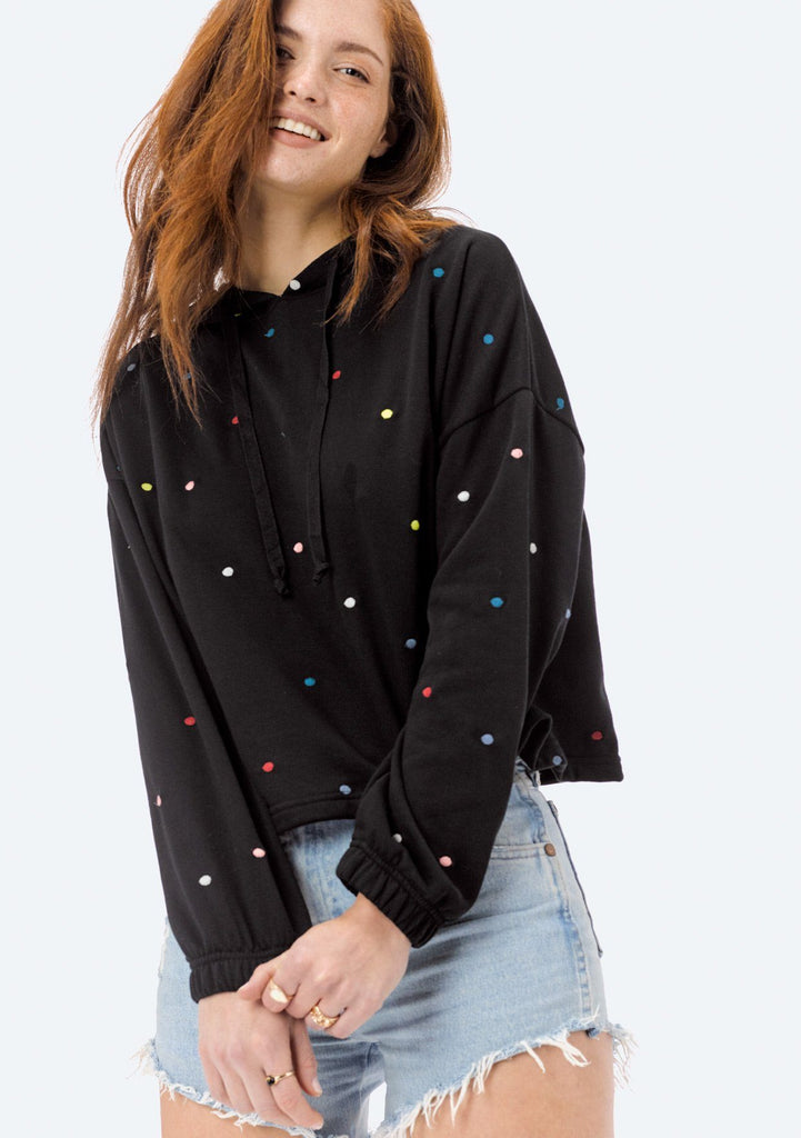 [Color: Black/Multi] Lovestitch black, super soft, polka dot, french terry cropped pullover hoodie with drawstring hood.