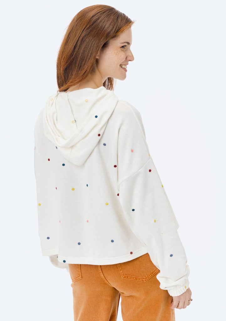 [Color: OffWhite/Multi] Lovestitch white, super soft, polka dot, french terry cropped pullover hoodie with drawstring hood.
