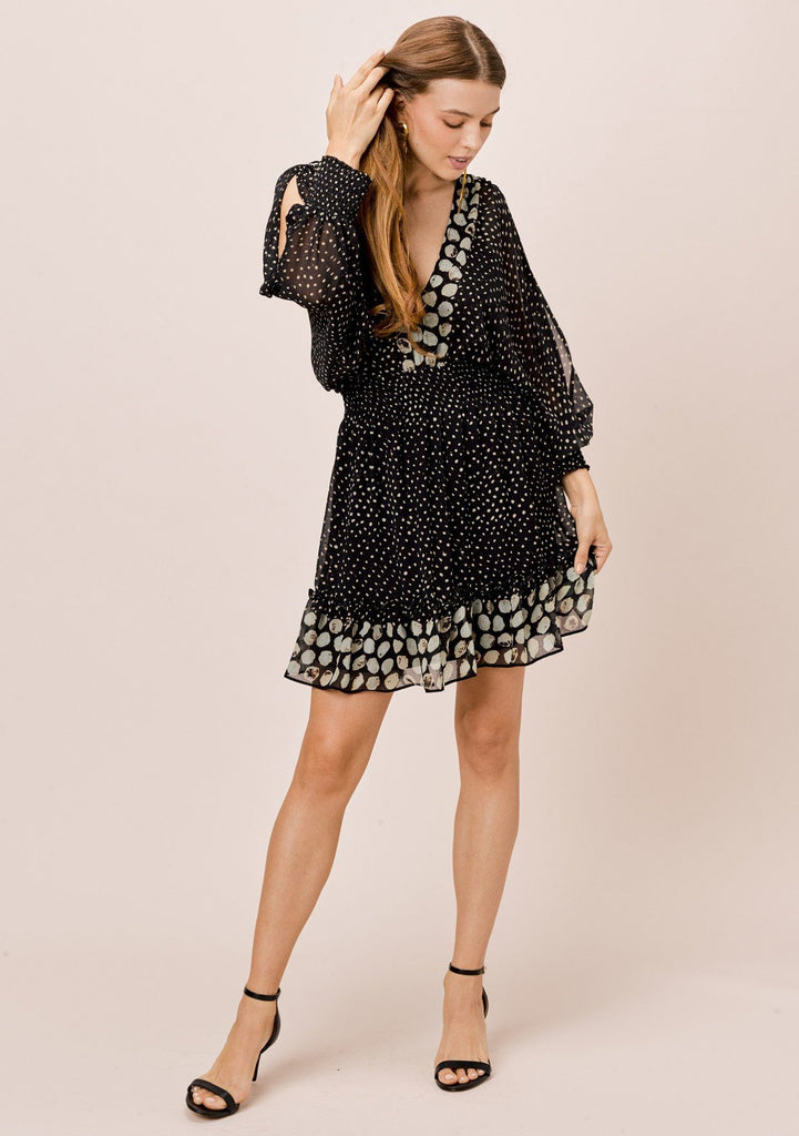 [Color: Midnight/Sky] Lovestitch printed, split sleeve mini dress with smocked waist.
