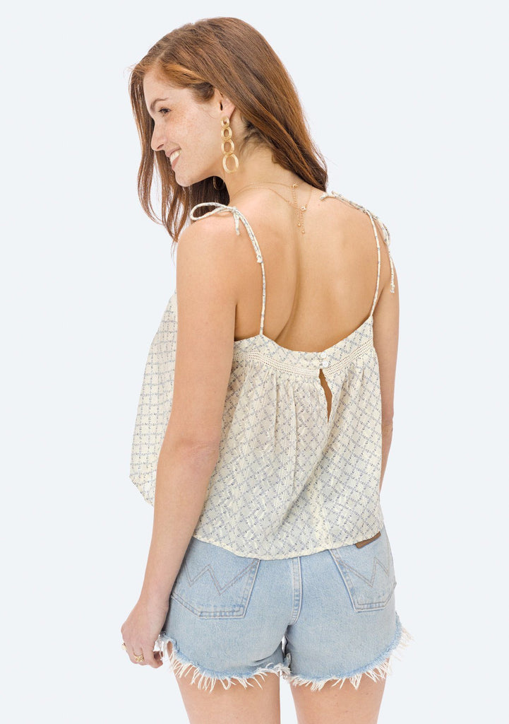 [Color: Natural/Blue] Lovestitch swingy, hand printed, cotton jacquard cami with tie shoulder straps