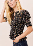 [Color: Black] Lovestitch black floral printed, buttoned front, pleated blouse with pleated, elbow sleeve.