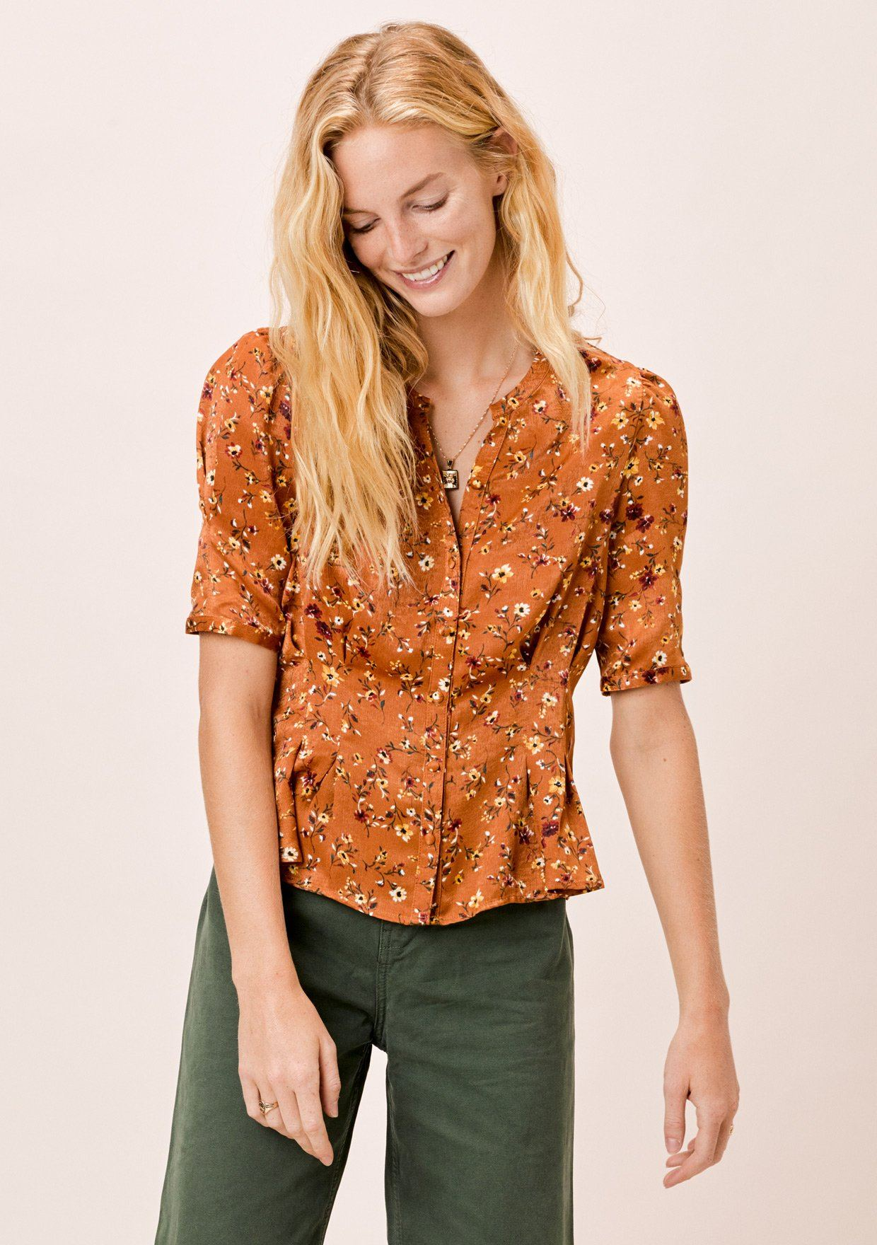 [Color: Caramel] Lovestitch caramel floral printed, buttoned front, pleated blouse with pleated, elbow sleeve.
