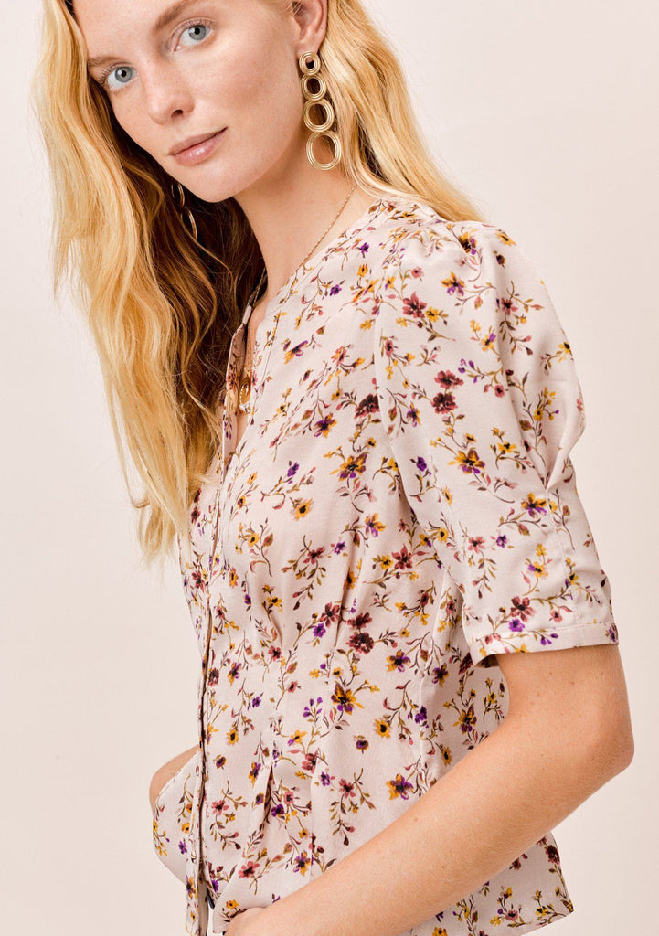 [Color: Dusty Blush] Lovestitch dusty blush floral printed, buttoned front, pleated blouse with pleated, elbow sleeve.