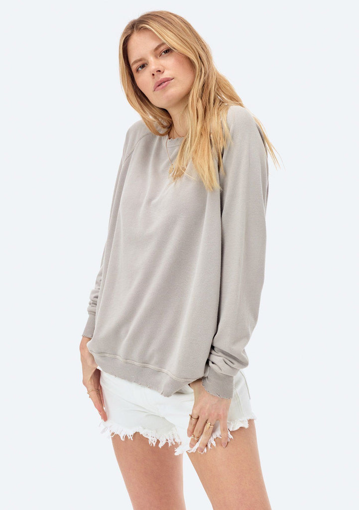 [Color: Putty] Lovestitch lightweight frenchterry crewneck sweater with distressed detail.