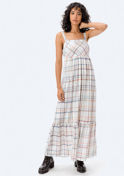 Rainbow Plaid Ruffle Maxi