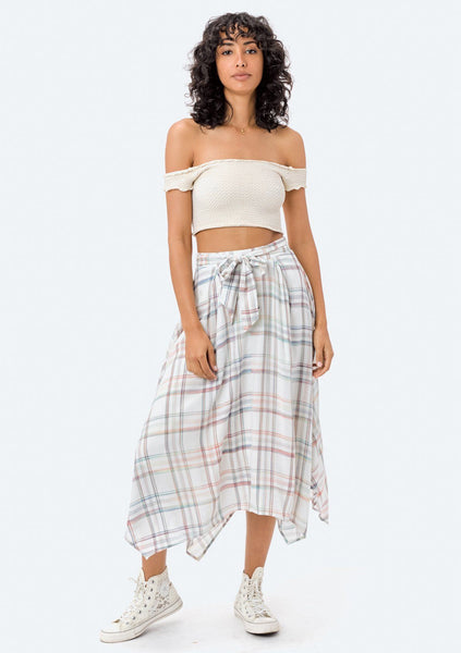 Dara Asymmetrical Plaid Skirt