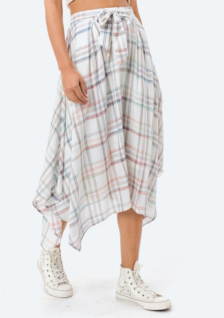[Color: Rainbow] Lovestitch rainbow plaid, asymmetrical skirt with tie front.
