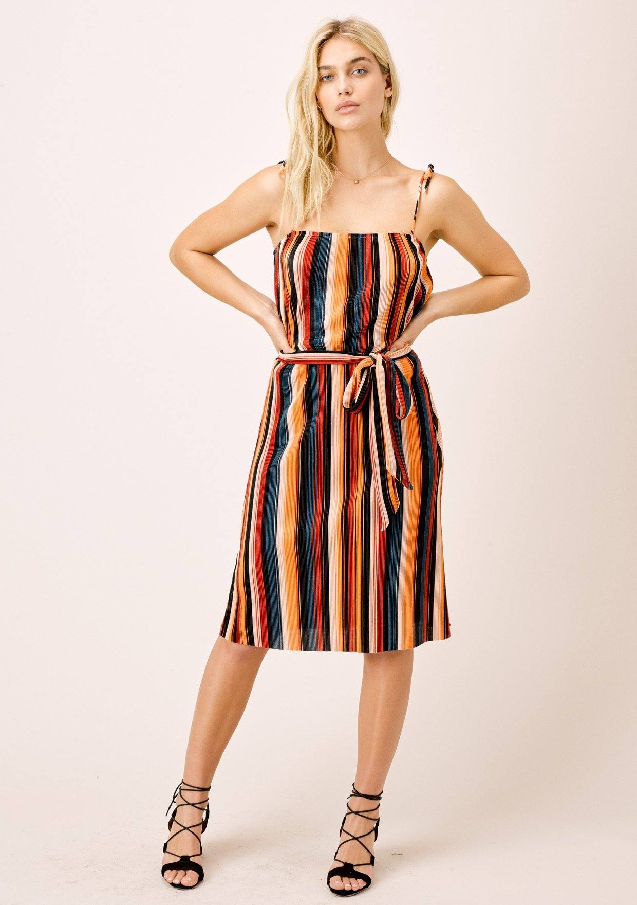 [Color: Black/Spice/Teal] Lovestitch Multi Color Striped Pleated Retro Style Midi Dress