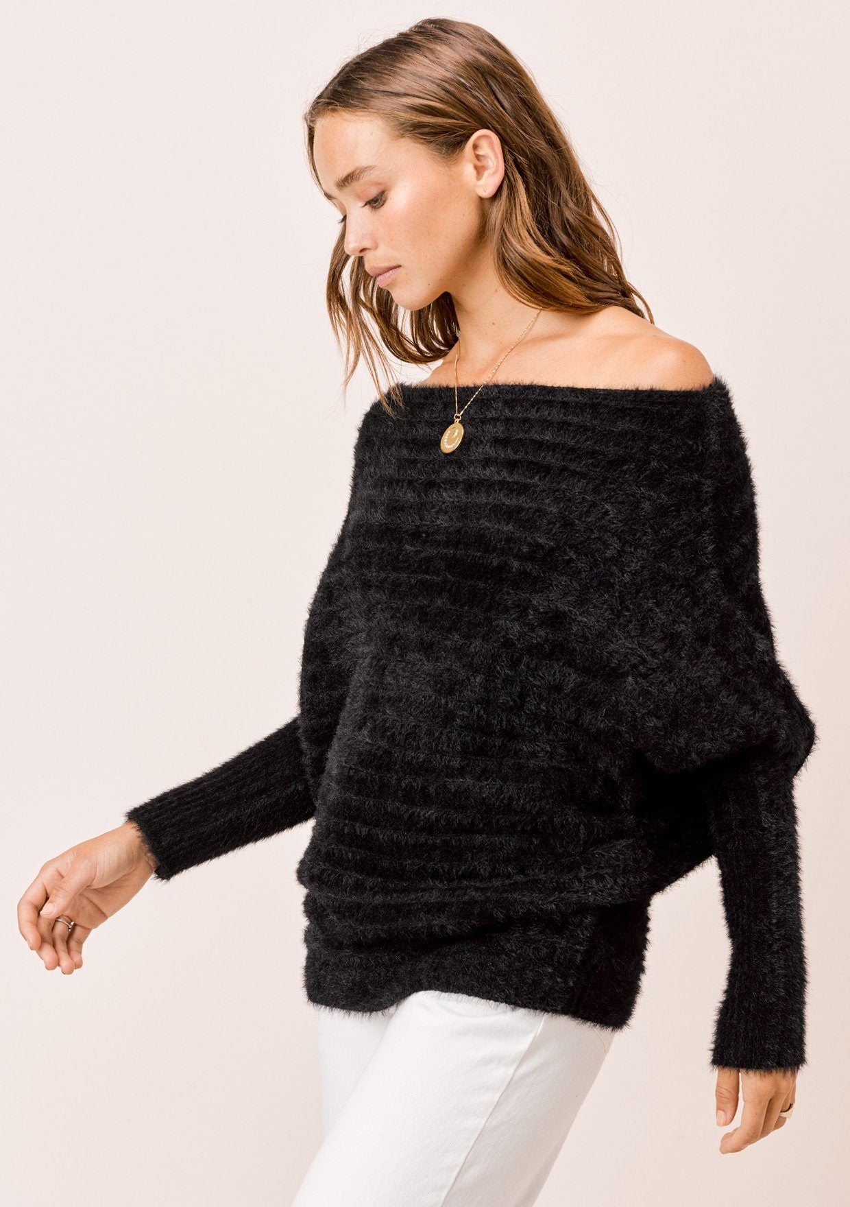 [Color: Black] Lovestitch black, fuzzy, textured stripe boatneck pullover.