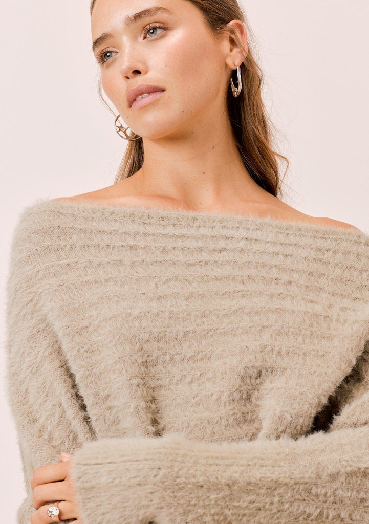 [Color: Taupe] Lovestitch taupe, fuzzy, textured stripe boatneck pullover.